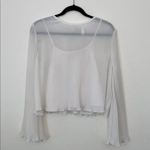 Bell sleeved pleated boho chic blouse